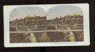 Early 1900's Stereoview of Gold Mining at Cape Nome Alaska